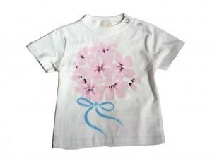 桜ブーケの手描きTシャツ