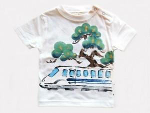 新幹線と松の手描き