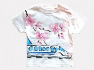 新幹線と桜の手描き