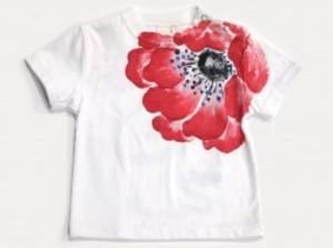 萌えアネモネの手描きTシャツ