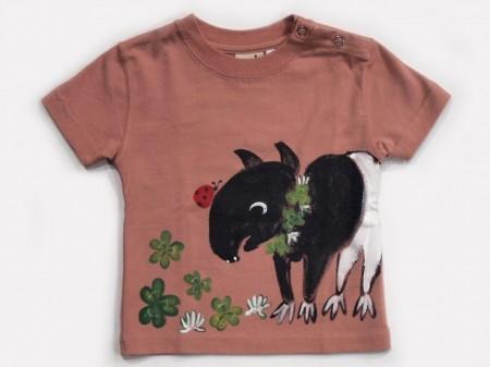 バクとクローバーの手描きTシャツ